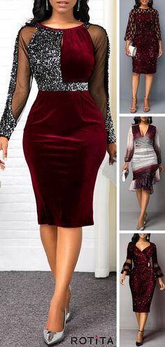 Cocktail Party Dress Sequin Detail Mesh Panel Back Slit Sheath Dress Elegant Dresses, Beautiful Dresses, Sheath Dress, Bodycon Dress, Slit Dress, Peplum Dress, Red Sequin Dress, Patchwork Dress, Latest African Fashion Dresses