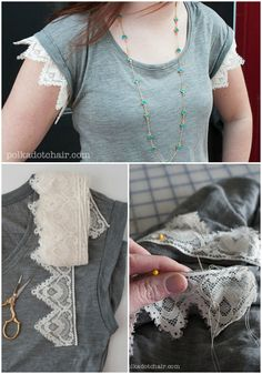 DIY Lace Sleeved T-shirt