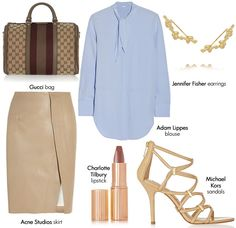 minus the bag add brown or burgundy knee high or ankle boots instead of sandals
