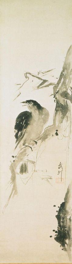 Miyamoto Musashi (Niten), Japanese, 1584 - 1645) - Bird on Branch, 1584-1645, Edo Period (1615-1868). Philadelphia Museum of Art