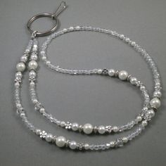 beaded ID breakaway lanyard necklace 32 to 44 with magnetic clasp .toggle or on opening white pearls and crystals Name tag holder lanyard Diamond Choker Necklace, Cluster Necklace, Crystal Names, Beaded Jewelry, Fine Jewelry, Boho Jewelry, Silver Jewelry, Lanyard Necklace, Beaded Lanyards