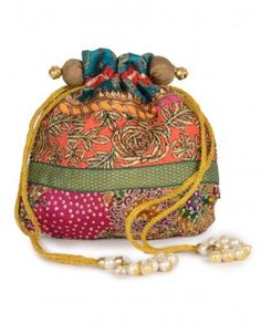 #Exclusivelyin, #IndianEthnicWear, #IndianWear, #Fashion, Peach Orange Potli Bag with Sequins & Faux Pearls