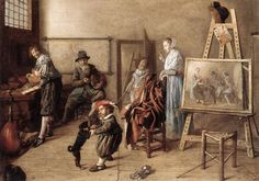 Jan Miense Molenaer (1610-1668) Painter in His Studio, Painting a Musical Company Oil on canvas 1631 127 x 86 cm (4 2 x 33.86)