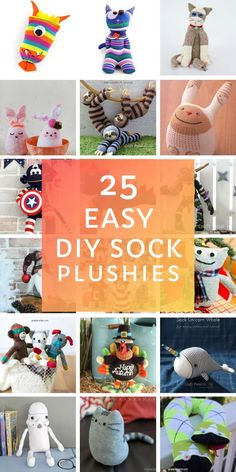 25 Easy DIY Sock Plushies and Animals You'll Want to Make this Weekend How cute are these easy sock plushies for kids! You'll have as much fun making them as your kids will have playing with them! Kids Crafts, Sock Crafts, Easy Diy Crafts, Diy Arts And Crafts, Diy Crafts To Sell, Fabric Crafts, Craft Projects, Sewing Projects, Decor Crafts