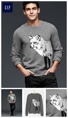 Fox lambswool crew sweater