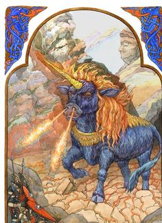 """Indrik- Russian myth: an enormous beast that had the body of a bull, the legs of a deer, the head of a horse, and a long horn protruding from the tip of its muzzle. It was the king of all animals and when it moved the earth rumbled. It lived on a mountain called """"the holy mountain""""."""