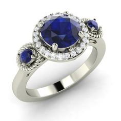 Round Sapphire Halo Ring in 14k White Gold with SI Diamond