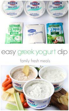 Easy Greek Yogurt Dips - 3 Ways!