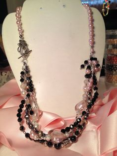 Pink & Black heart necklace by mccoyblingandthings on Etsy, $34.00