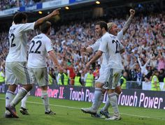 Guti Photos Photos - Marcelo (L), Xabi Alonso (#22) Gonzalo Higuain and Guti (R) of Real Madrid celebrate after Real scored their 3rd goal during the La Liga match between Real Madrid and CA Osasuna at Estadio Santiago Bernabeu on May 2, 2010 in Madrid, Spain. - Real Madrid v CA Osasuna - La Liga