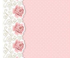 Pink flower with vintage cards vectors 02