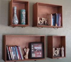 I used old dresser drawers for book shelves!  I think I may wallpaper the backs of them too, not sure yet.
