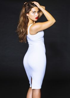 Maryam in the White Ponte Tank Dress from American Apparel