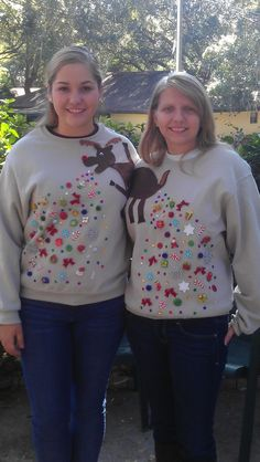 We can make twinsies christmas sweaters of dogs puking and pooping christmas ornaments! Charming!: