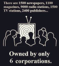 There are 1,500 newspapers, 1,100 magazines, 9,000 radio stations, 1,500 TV stations, 2,400 publishers...Owned by only 6 corporations  Follow this link to find short video clips and an analysis exploring Herman and Chomsky's propaganda model, which argues that government entities and powerful businesses are able to control the information the media reports through five kinds of filters: http://www.thesociologicalcinema.com/1/post/2013/02/the-art-of-manufacturing-consent.html