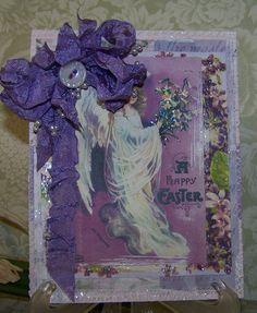 Easter Card Handmade Vintage Style Ellen Clapsaddle Religious Easter Angel Card by TheNestinSLT on Etsy