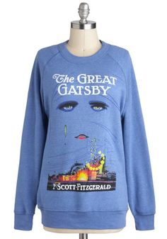 Novel Tee Sweatshirt in Jay by Out of Print - Blue, Casual, Long Sleeve, 20s, Sweatshirt, Fall, Knit, Novelty Print, Vintage Inspired, 90s, Nifty Nerd, Best Seller, Crew, Blue, Long Sleeve, Better, Mid-length, Press Placement, Halloween, Gals, Good, 4th of July Sale