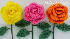 DIY Learn How to #Crochet a Beginner Easy Flower - Rose Bouquet Flowers. use different yarns and different size hooks to make different sizes and looks. perfect for embellishment and brooches.