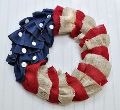 @Lauren Williams sells the cutest things in her Etsy shop LittleBigNest...check it out!- Fourth of July Burlap and Denim Wreath. $39.00, via Etsy.