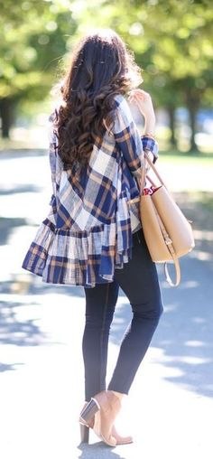 #winter #outfits blue skinny jeans and plaid long sleeve shirt outfit