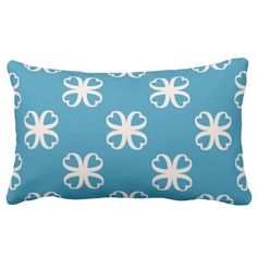 White Kaleidoscope Flowers on Blue Reversible Lumbar Pillow