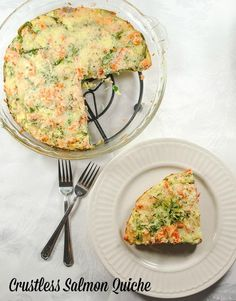 A healthy crustless salmon quiche with spinach and sharp cheddar cheese.