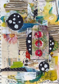 {Roben-Marie Smith} - Art Journaling fun with layers and layers of paint, cardboard, stitching, scribbles and more