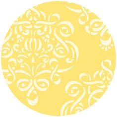 Dena Designs Fabric, Taza, Ribbon damask, Yellow