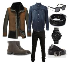 Fall look 1 for men by autumn-nelson on Polyvore featuring polyvore, fashion, style, FOSSIL, Paul Smith, Oliver Peoples, BLK DNM, SELECTED, A. Testoni and clothing