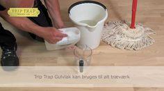 Sådan anvender du Trip Trap Gulvlak..... en farveløs, vandig gulvlak specielt udviklet til behandling af trægulve og - trapper.