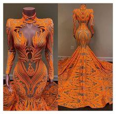 Black Girl Prom Dresses, Orange Prom Dresses, African Prom Dresses, Cute Prom Dresses, Prom Outfits, African Dress, Girls Dresses, Prom Gowns, Wedding Dresses