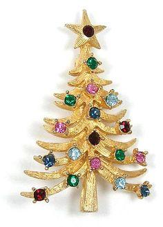 Vintage Mylu (Coro) Christmas Tree Pin Book Piece