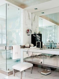 Glamorous bathroom with a walk in shower in a contemporary Portuguese 'party pad' outside Lisbon, feat. a beautiful mix of antiques and modern furniture, via Glamorous Bathroom, Beautiful Bathrooms, Bathroom Furniture, Modern Furniture, Interior Exterior, Interior Design, Contemporary Bathrooms, Modern Mirrors, Contemporary Interior