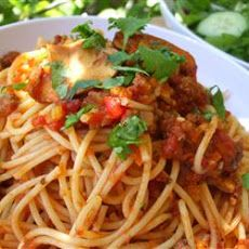 Mariu's Spaghetti with Meat Sauce Recipe Main Dishes with olive oil, minced onion, garlic, celery, butter, lean ground beef, white sugar, salt, dried mint flakes, mushrooms, tomato paste, beef broth, dried basil, spaghetti, olive oil, salt, fresh parsley, romano cheese