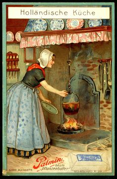 """- """"German Tradecard - Dutch Cook"""" by cigcardpix Vintage Labels, Vintage Cards, Vintage Pictures, Vintage Images, Old Advertisements, Advertising, Wow Art, Beautiful Paintings, Vintage Postcards"""