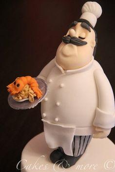 I Made this cake topper in Carlos Lischetti's class at Cake Design Italian Festival Fondant Cake Toppers, Fondant Cakes, Cupcake Cakes, Cake Fondant, 3d Cakes, Fancy Cakes, Cute Cakes, Beautiful Cakes, Amazing Cakes