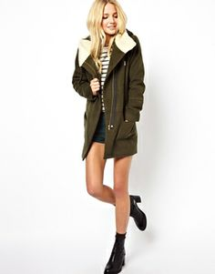 Image 4 of ASOS PETITE Exclusive Patched Wool Parka with Fur Lining