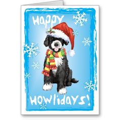Send Christmas greetings with this card of a cute Portuguese Water Dog puppy wearing a Santa hat and striped scarf amid snowflakes and the words, Happy Howlidays! Great for Portie-loving family and friends. Have a Happy Howliday!