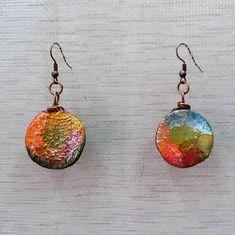 Polymer Clay earrings, Colorful earrings, Circle earrings,  Boho earrings, Exotic earrings, Handmade earrings, one of a kind, OOAK,