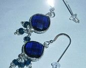 925 Sterling Silver Beautiful  with Faceted Heart Kyanite Blue Quartz with Silver & Faceted Apatite Drop Beaded Earrings