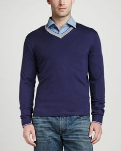 Superfine+Tricolor+V-Neck+Sweater,+Navy++by+Neiman+Marcus+at+Neiman+Marcus.