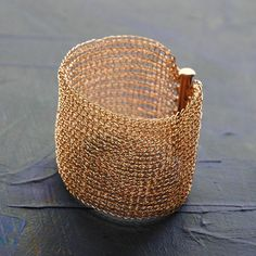 Cuff bracelet is crocheted with fine 14k rose gold filled wire: Very cool!