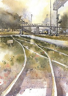 Morning Train by Iain Stewart Watercolor ~ 14 x 10