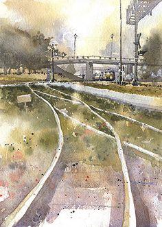 Morning Train by Iain Stewart Watercolor ~ 14 x 10