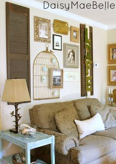 Family Room @ DaisyMaeBelle - like the moss letters attached to burlap(?) on the shutters