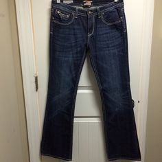 NWOT ReRock for Express Boot Cut Jeans Never worn, dark wash, boot cut jeans with unique back pocket design. Express Jeans Boot Cut