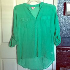 Shirt Brand new Candie's medium green shirt. Never worn and in perfect condition. Candie's Tops Button Down Shirts