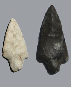 "Two Northeast Oklahoma ""Gary"" atlatl projectile points side-by-side."