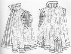 "Manga Drawing Patterns ""Conjectured appearance of the cloak with sleeves worn by don Garzia. The drawing was done from a toile made out of the pattern shapes onto which the damask had been traced. All the details were drawn directly from the original. Renaissance Costume, Renaissance Men, Medieval Costume, Renaissance Clothing, Italian Renaissance, Medieval Gown, Medieval Knight, Historical Costume, Historical Clothing"