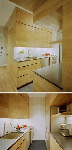 Kitchen Design Ideas - 14 Kitchens That Make The Most Of A Small Space // Lots of light wood and simple white tiles keep this small kitchen streamlined with the rest of the interior, while stainless steel appliances and cabinets that go all the way to the ceiling make it completely functional and extra stylish.